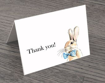 Set of Blue Bunny Thank You Cards & Envelopes