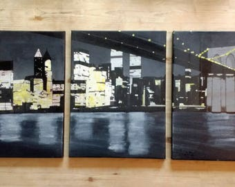 Manhattan Under the Bridge - Original Artwork