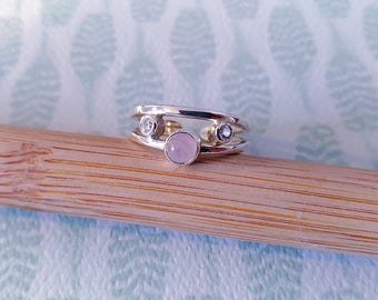 Ring in 925 sterling silver with cabochon rose Quartz