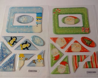 Stickers Father Christmas and snowman - 2 stickers sheets - embellishments - scrapbooking