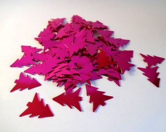 Glitter hot pink Christmas trees - 5g - party - home decor - embellishments - scrapbooking