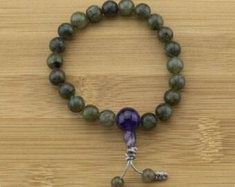 Labradorite Buddhist Mala Bracelet with Amethyst | 8mm | Yoga Jewelry | Meditation Bracelet | Wrist Mala | Free Shipping