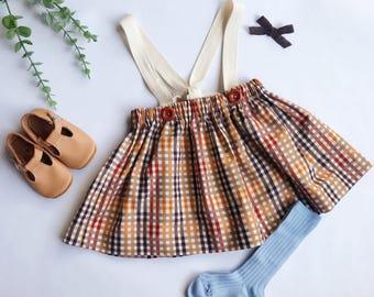 Bree - Cotton Suspender Skirt with Strap Tie Back