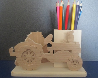 pencil holder with tractor cut