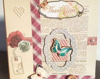 Handmade, vintage feel, Thank You card.