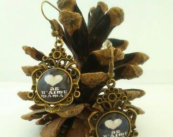 "Bronze pendant cabochon earrings ""I love you MOM"""