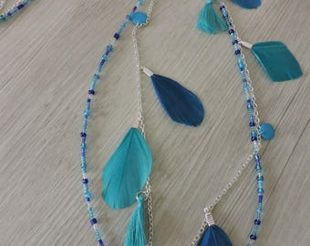 Necklace beads and feathers blue Boho chic, necklace