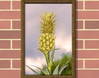Gold pineapple on plant. Printable wall art. Wall decor. Gold Pineapple Print. Printable art. Digital Download. High quality PDF file.