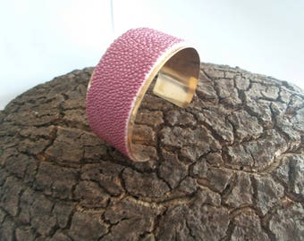 metal and leather Cuff Bracelet exotic fish Skate Stingray skin