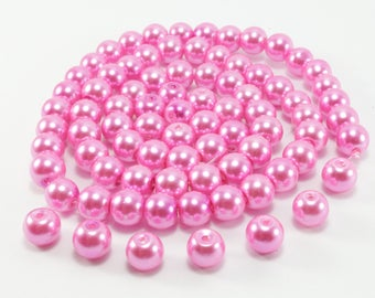 30 pink glass pearl beads approximately 8mm