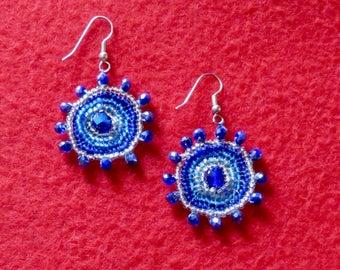 Circular Blue Dangling Earrings