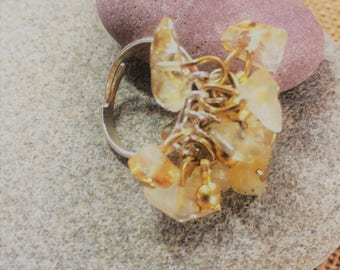 Citrine gemstone cluster ring (adjustable multi size) with gold plated decoration and silver plated  base