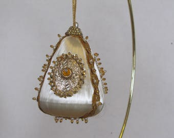 Vintage Hand embelished Christmas Tree bell shaped Ornament White with Gold trimmings