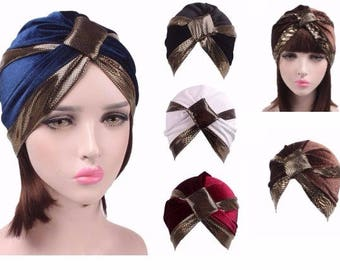 Black Velvet Golden Turban Hat Head wrap, Handmade Turban, Twist Turban, Chemo Hat turban, Hair Loss Hat, Head Wrap, Women Turban Hat,