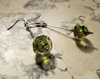 Earrings dangle green Crystal on Sterling Silver 925