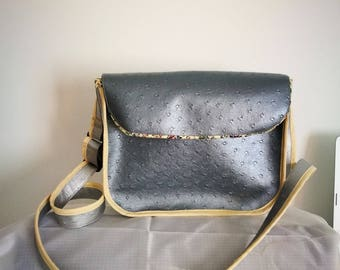 faux ostrich type print and grey leather satchel bag flowery yellow