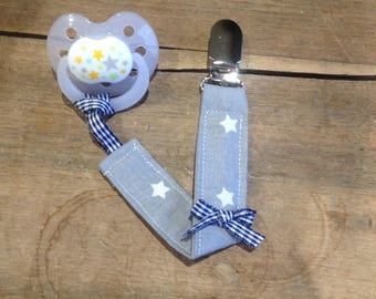 Pacifier clip grey and blue cotton fabric