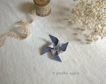Fancy brooch, windmill, Liberty Heidi and cotton blue blotter rustle
