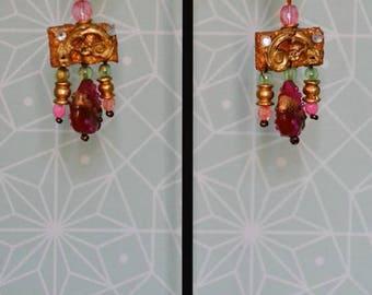 Pink trimmings beads clip earrings