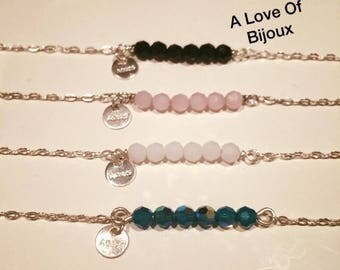 Silver 925 chain bracelet with round Swarovski Crystal beads and a sequin