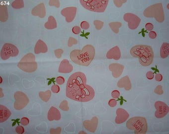 Fabric C674 hearts and cherries on pink coupon 35x50cm