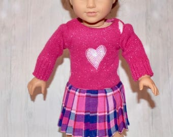 "18"" Doll Dress - Pink One-Piece Sweater Pleated Dress"