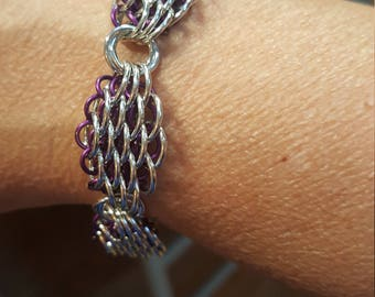 Dragon Scale, Silver, Purple, Bracelet, Gift, Chainmaille