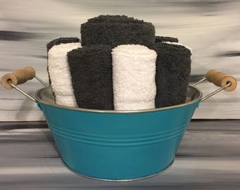 Teal Beach Bathroom Towel Bin - Towel/Wash Cloth Holder/Wooden Handles - 2 dark gray hand towels, 5 dark gray - 5 white wash cloths.