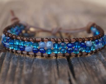 Blue and White Wrap Bracelet with Tan Leather and Brown String