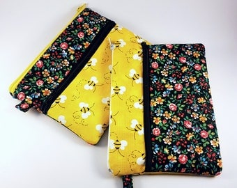 Double Zipper Pouch, Yellow Clutch, Pencil Cases, Cosmetic Bag, Travel Wallet, Teacher Gift, Black and Yellow Purse