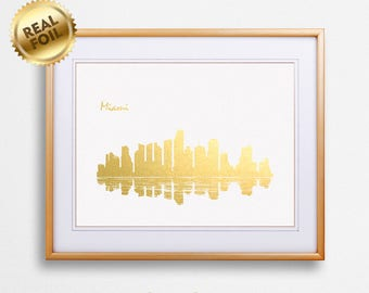 Miami City Skyline Gold Print, Real Gold Foil Print, Miami City Poster, Miami Wall Art, Miami City Print, Miami City Gift, GoldenGraphy