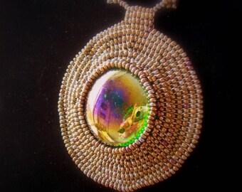 Weaving Bronze Locket necklace