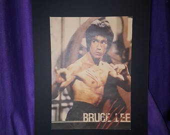 Bruce Lee mounted Poster