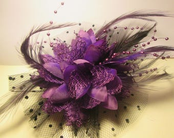 Brooch, Hairclip, Fleur Violet, barrette, elastic hair, ceremony, wedding, flowers, pearls, feathers,.