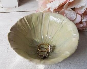 Handmade ceramic petal dish bowl - mint green. Jewellery dish