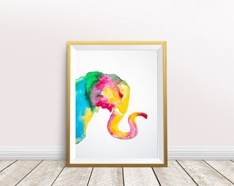 Elephant Watercolor,elephant print,elephant painting,elephant poster,nursery decor,elephant wall art,instant download,Colorful Elephant,gift