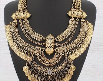 Gold tone Bohemian coin necklace Chain fashion arabian