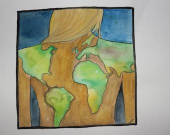 Watercolor original painting girl earth tattoo