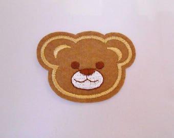 Applique fabric fusible bear 6.2 cm head