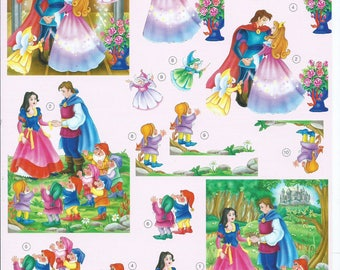 paper cut card 3D Cinderella/snow white