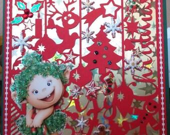 card 3D Toread girl on a Christmas cutting
