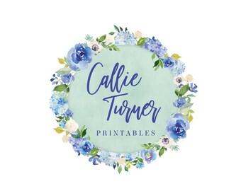 Round Floral Logo, Round Logo, Floral Logo, Blue Flowers Logo, Watercolor Flowers, Pretty Logo, Blue Logo, Floral Logos, Premade, No. 48