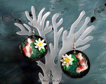 Earrings: Japanese with carp koi and lotus ponds