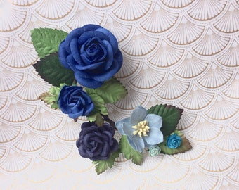 Shades of blue flower branch hair clip