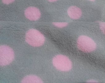 """Fleece """"dots"""" clear/pink gray, very soft fabric"""