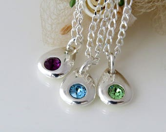 Sterling Silver Birthstone Necklace, Bridesmaid Jewelry, Silver Birthstone Pendant, Gift for Bridesmaids