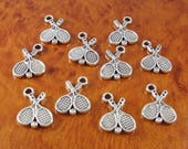 Tennis charms / 10 silver sports charms / double sided 3D jewelry and craft charms / wholesale charms