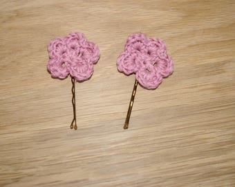 pink flowers hair clips