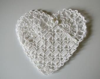 heart shaped crochet pouch