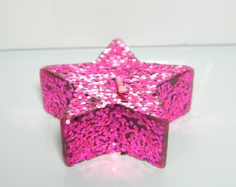 Pink sequin star candle